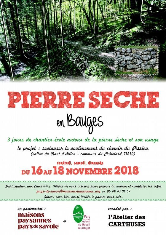 Chantier école mur en pierre sèche du 16 au 18 novembre @ Cascade du pissieu | Le Chatelard | Auvergne-Rhône-Alpes | France